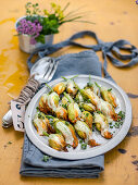 Zucchini flowers with potato filling