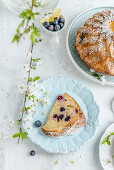 Easter cake with blueberries and lemon, sprinkled with powdered sugar
