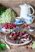 Chocolate streusel raspberry cake with quark filling