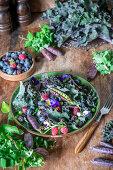Berry purple kale salad
