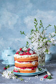 Sponge cake with mascarpone and berries