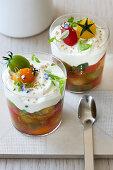 Gemüse-Confit mit Ziegenfrischkäse-Creme