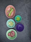 Broad beans and salami