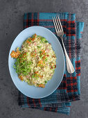 Creamy fava bean and salami risotto with parmesan-fava chips and sprouts