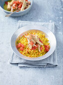 Raw veg with a mackerel dip with white wine sultanas