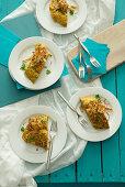 Artichoke and bread omelettes with fried artichoke strips