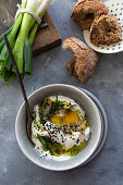 Turkish eggs with scallion butter and scallion oil
