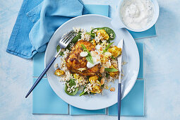 Indian roast chicken with spiced cauliflower and brown rice