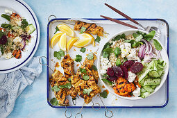 Moroccan pork skewers with grilled carrot and quinoa salad