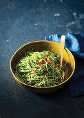 Quick kale pesto spaghetti