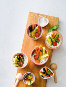 Crudites with yoghurt dip