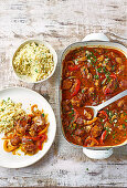 Spanish lamb with sherry, honey and peppers