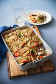 Mussel and wheat bake with potatoes