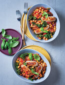 Tomato-braised sausages with chickpeas and kale