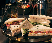 Various sandwiches on a tray