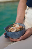 Spelt and bean salad with prawns and herbs