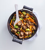 A beef and vegetable pan with ginger