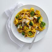 Pasta with saffron, broccoli and salsiccia