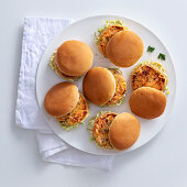 Small fishburgers with white cabbage salad
