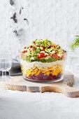 Layered Christmas pasta salad