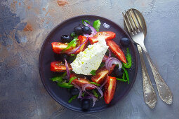 Greek salad with tomatoes and feta cheese