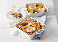 Pumpkin and chickpea casserole with goat's cheese