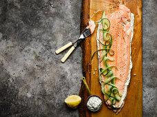 Whole salmon with sorrel mayonnaise