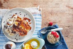 Banoffee French toast and Bircher muesli