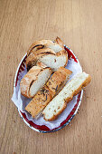 Grilled white bread and focaccia