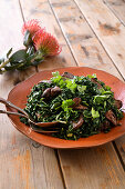 Spicy spinach with chicken livers