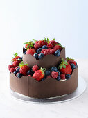 Chocolate berry cake with scalloped chocolate bands