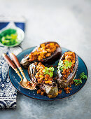 Stuffed and baked brinjals with lamb