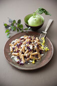 Buckwheat noodles with red cabbage and ricotta