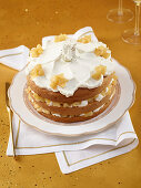 Cream cake with cognac pears and allspice