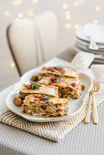 Rosemary lasagne with beef, chestnuts and cured ham