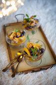 Winter fruit salads with orange syrup