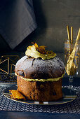 Panettone with pistachio cream and caramelised pineapple