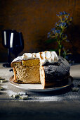 Panettone with a mascarpone and coffee cream filling topped with meringue