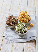 Variations of popcorn with chocolate, Tuscan kale and salted caramel