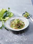 Spelt ravioli with sweet potato filling and cabbage pesto