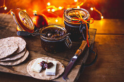 Fig and clementine chutney for Christmas with crackers and cheese