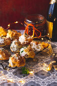 Gougere (choux pastry) filled with bacon and blue cheese