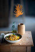 Wholemeal maltagliati with pumpkin and spinach