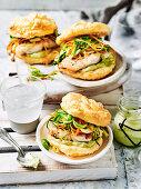 Wasabi fish burgers in cloud bread buns