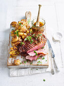Beef Rump with smashed potatoes and anchovy vinaigrette