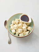 Diced tofu and soy sacue