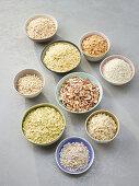 Various types of grain in bowls