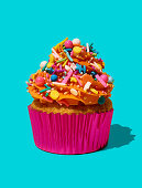 Cupcake with orange frosting