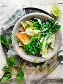 Thai Pumpkin, Pea and Pak Choy Soup with coconut milk