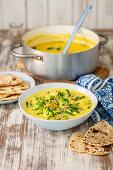 Curry with broccoli, cauliflower, pumpkin and coconut milk